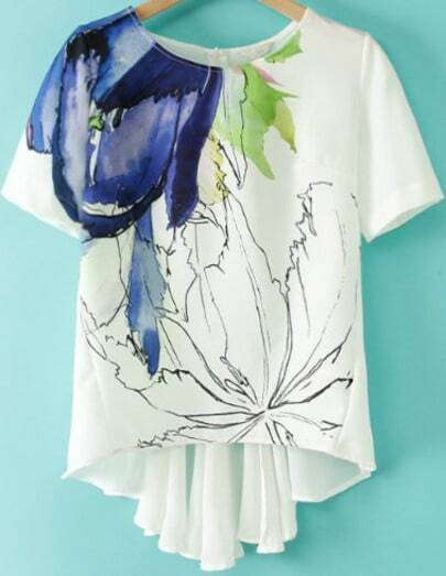 White Short Sleeve Floral Dipped Hem T-Shirt