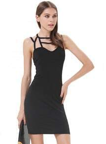 Black Sleeveless Hollow Body Conscious Dress
