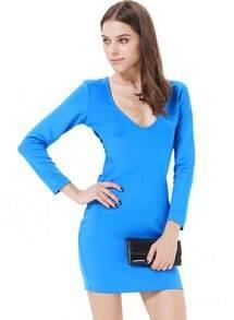Blue Long Sleeve Backless Bodycon Dress