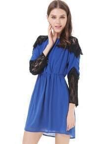 Blue Long Sleeve Contrast Lace Split Dress