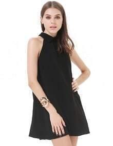 Black Lapel Sleeveless Loose Chiffon Dress