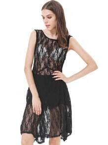 Black Sleeveless Embroidered Sheer Mesh Yoke Dress