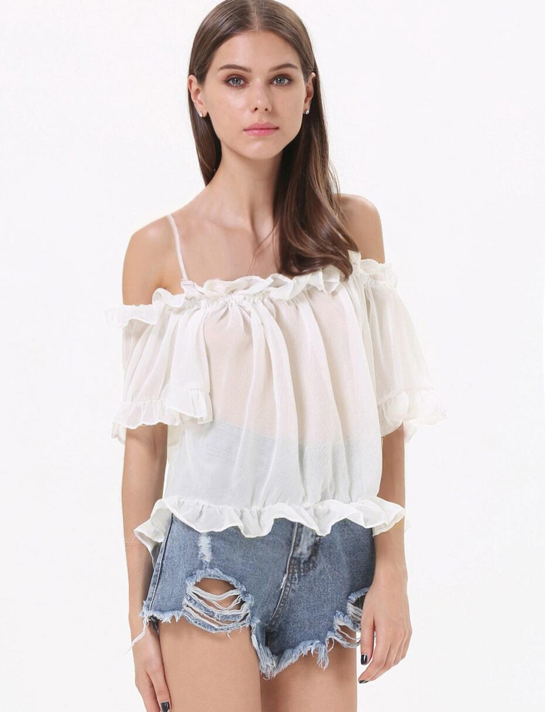 white off the shoulder half sleeve chiffon blouse shein. Black Bedroom Furniture Sets. Home Design Ideas