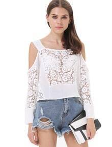 White Off the Shoulder Hollow Loose Blouse