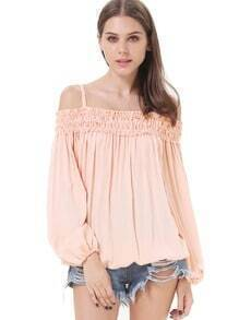 Pink Off the Shoulder Pleated Loose Blouse