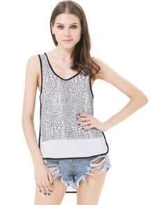 Black Sleeveless Skin Print Chiffon Vest