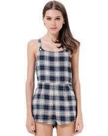 Blue Spaghetti Strap Plaid Pockets Jumpsuit