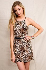 Leopard Spaghetti Strap Slim Bodycon Dress