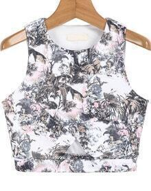 Grey Sleeveless Tree Print Vest
