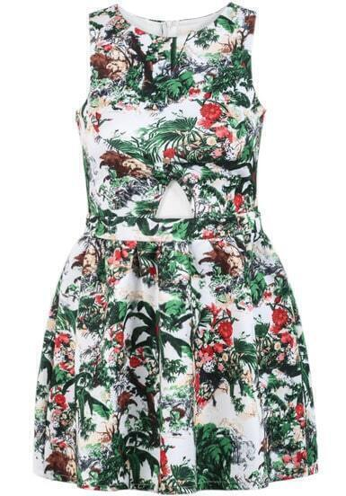 Green Sleeveless Floral Hollow Pleated Dress
