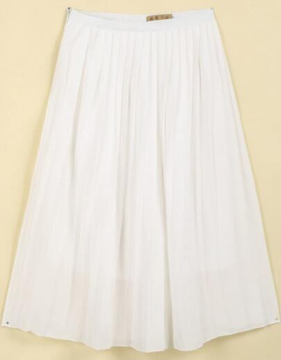 White Casual Pleated Skirt