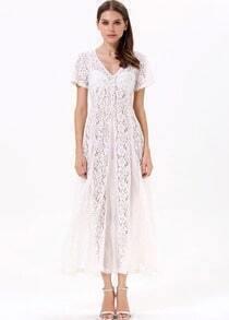 White Short Sleeve Sheer Lace Chiffon Dress