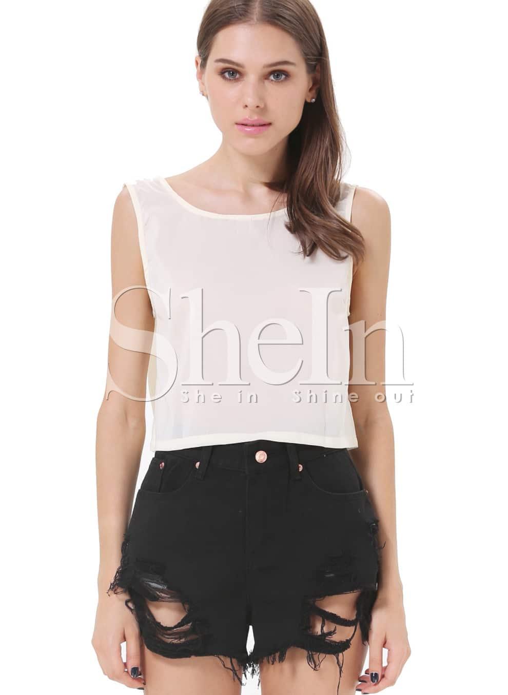 Black Pockets Ripped Denim Shorts