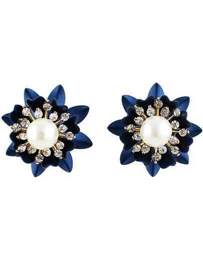 Blue Flower Pearl Diamond Earrings