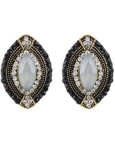 White Black Gemstone Gold Oval Earrings