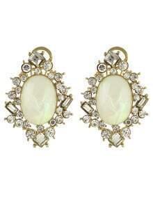 White Gemstone Diamond Earrings