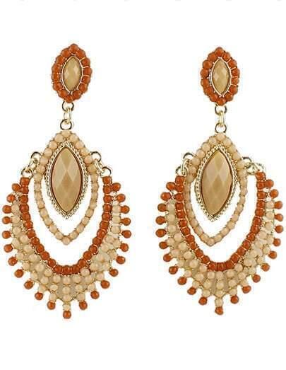 Orange White Bead Tassel Earrings