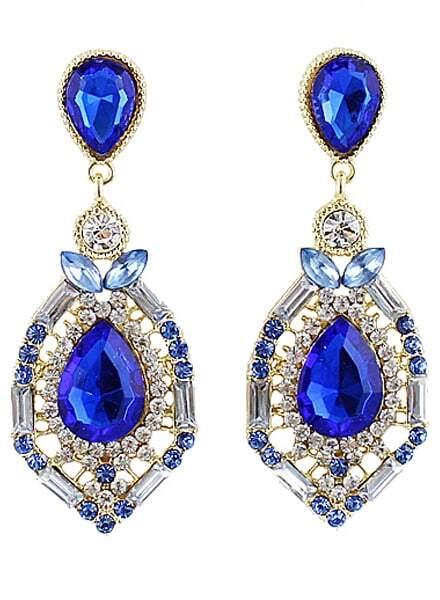 Blue Drop Gemstone Gold Hollow Earrings