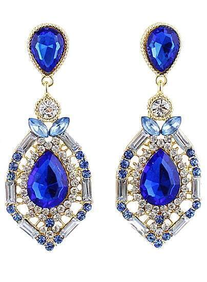 Blue Drop Gemstone Gold Hollow Earrings