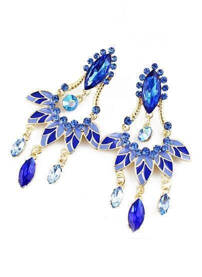 Blue Gemstone Tassel Leave Earrings