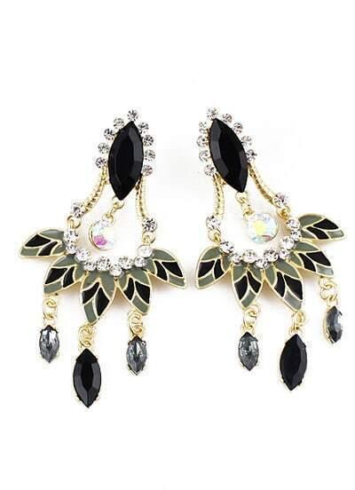 Black Gemstone Tassel Leave Earrings