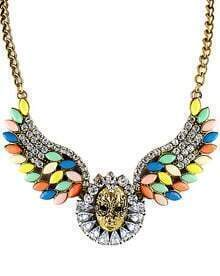 Multicolor Gemstone Retro Gold Skull Necklace