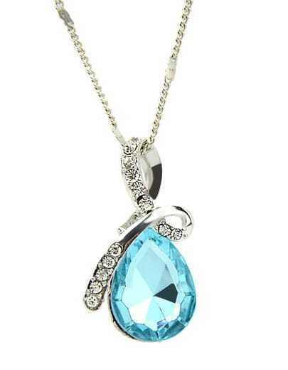 Blue Drop Gemstone Diamond Necklace