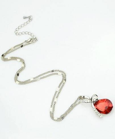 Red Drop Gemstone Silver Diamond Necklace