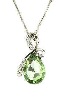 Green Drop Gemstone Gold Diamond Necklace