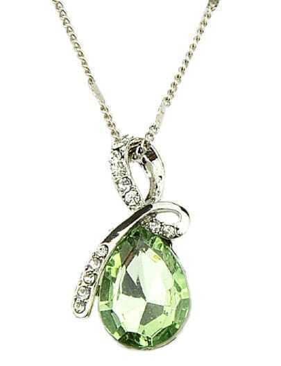 Green Drop Gemstone Gold Diamond Necklace