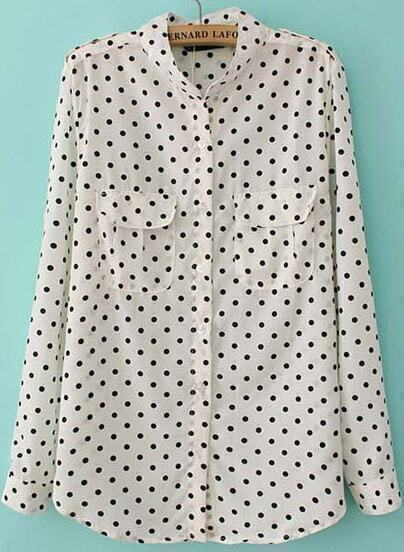 White Long Sleeve Polka Dot Loose Blouse