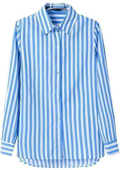 Blue Lapel Long Sleeve Vertical Stripe Blouse