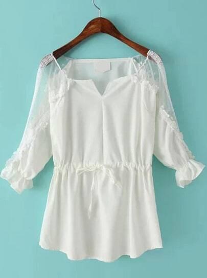 White Lace Sheer Shoulder Drawstring Blouse