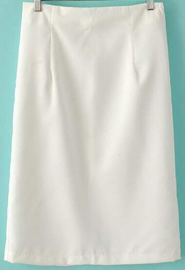White Split Back Slim Skirt