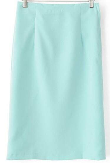 Blue Split Back Slim Skirt