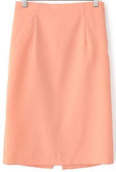 Orange Split Back Slim Skirt