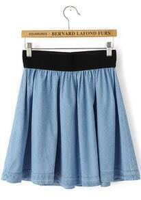 Blue Elastic Waist Pleated Denim Skirt