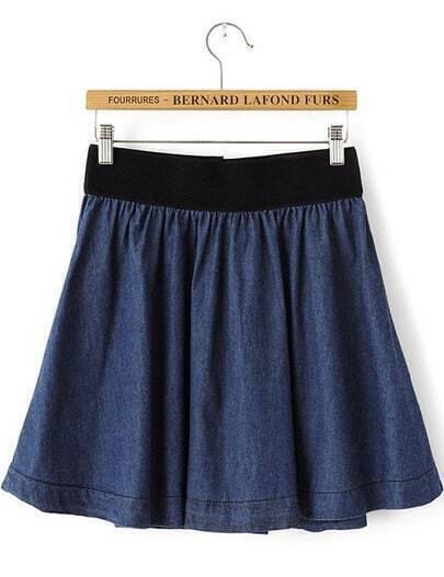 Navy Elastic Waist Pleated Denim Skirt