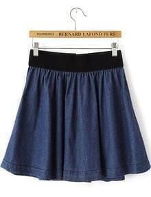 Navy Elastic Waist Pleated Denim Skirt