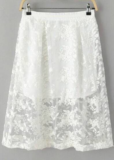 White Embroidered Slim Organza Skirt