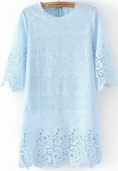 Blue Half Sleeve Floral Crochet Lace Dress