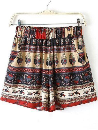 Apricot Elastic Waist Tribal Print Pockets Shorts