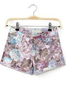 Purple Pockets Floral Straight Shorts