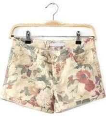 Yellow Pockets Floral Straight Shorts