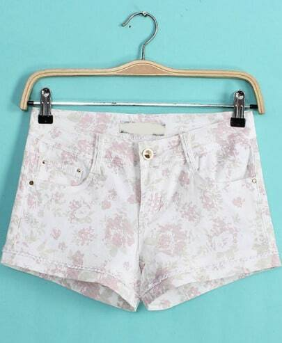 White Pockets Floral Lace Straight Shorts