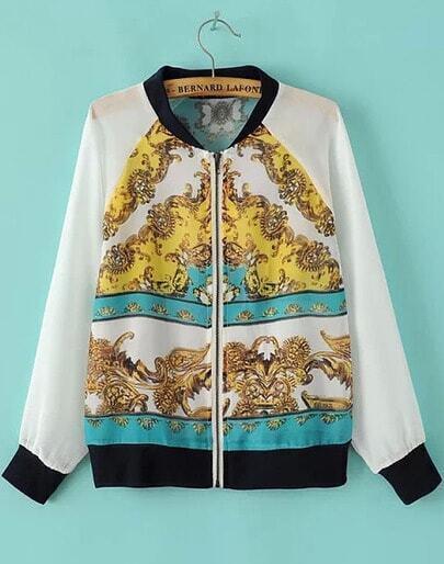 White Long Sleeve Floral Zipper Chiffon Jacket