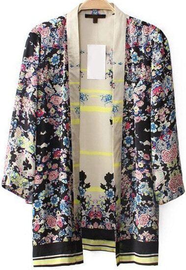 Black Long Sleeve Floral Loose Chiffon Kimono