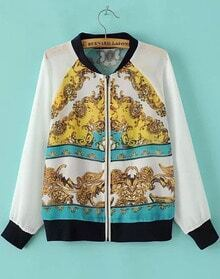 White Long Sleeve Floral Zipper Chiffon Jacket