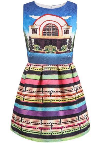 Blue Sleeveless Vintage House Print Dress