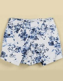 Blue Floral Butterfly Print Shorts